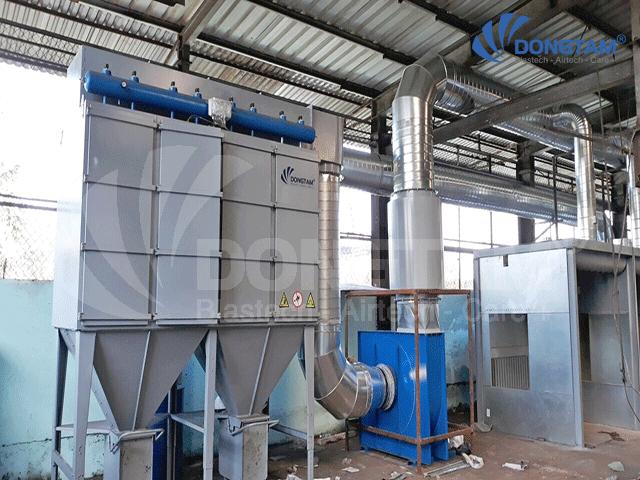 Hệ thống hút bụi kết hợp với Quạt công nghiệp tạo gió Hút -Thổi