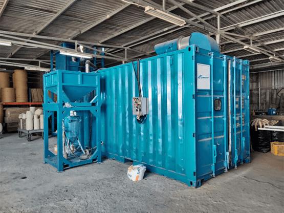 Sử dụng container ứng dụng làm sạch bụi trong khâu xử lý bền mặt nội thất