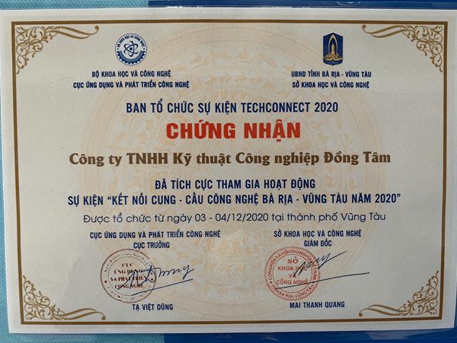 Giấy chứng nhận công ty KTCN Đồng Tâm - Tham gia tích cực
